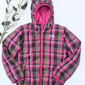 North Face Pink Plaid Reversible Down Puffer Coat